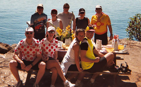 Guests on a bicycle tour of the San Juan Islands have a picnic on the west side of San Juan Island