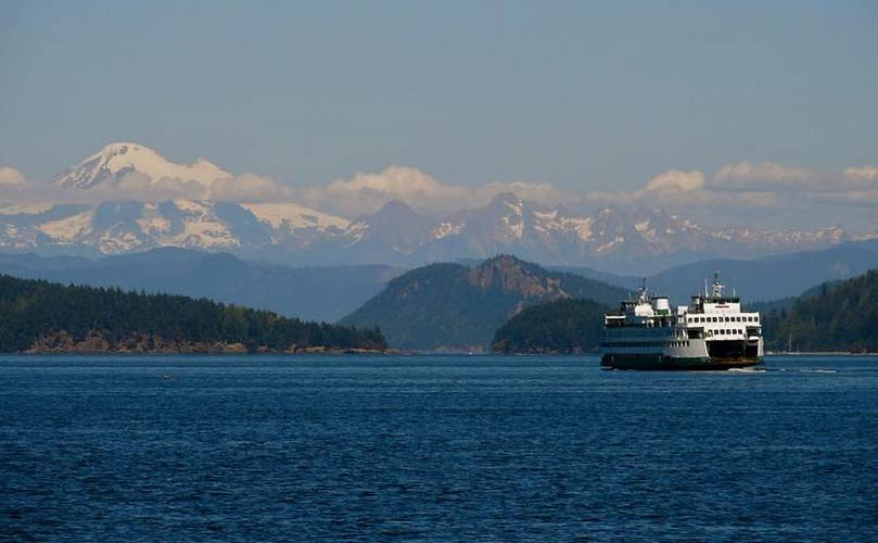 Washington State Ferry cruises through the San Juan Islands